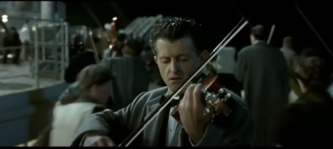A violinist in Titanic (the movie) playing the hymn