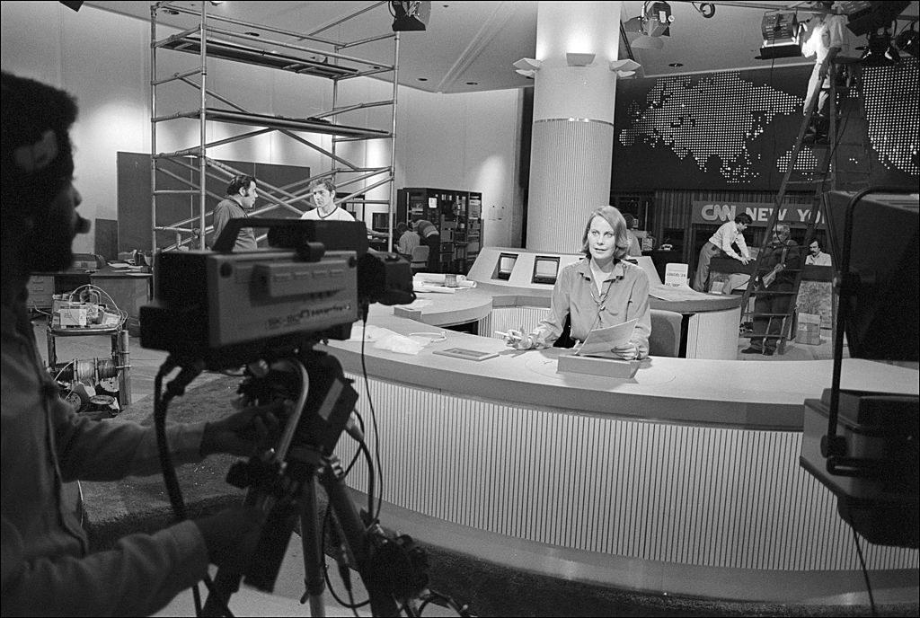 A CNN anchor broadcasting circa 1980