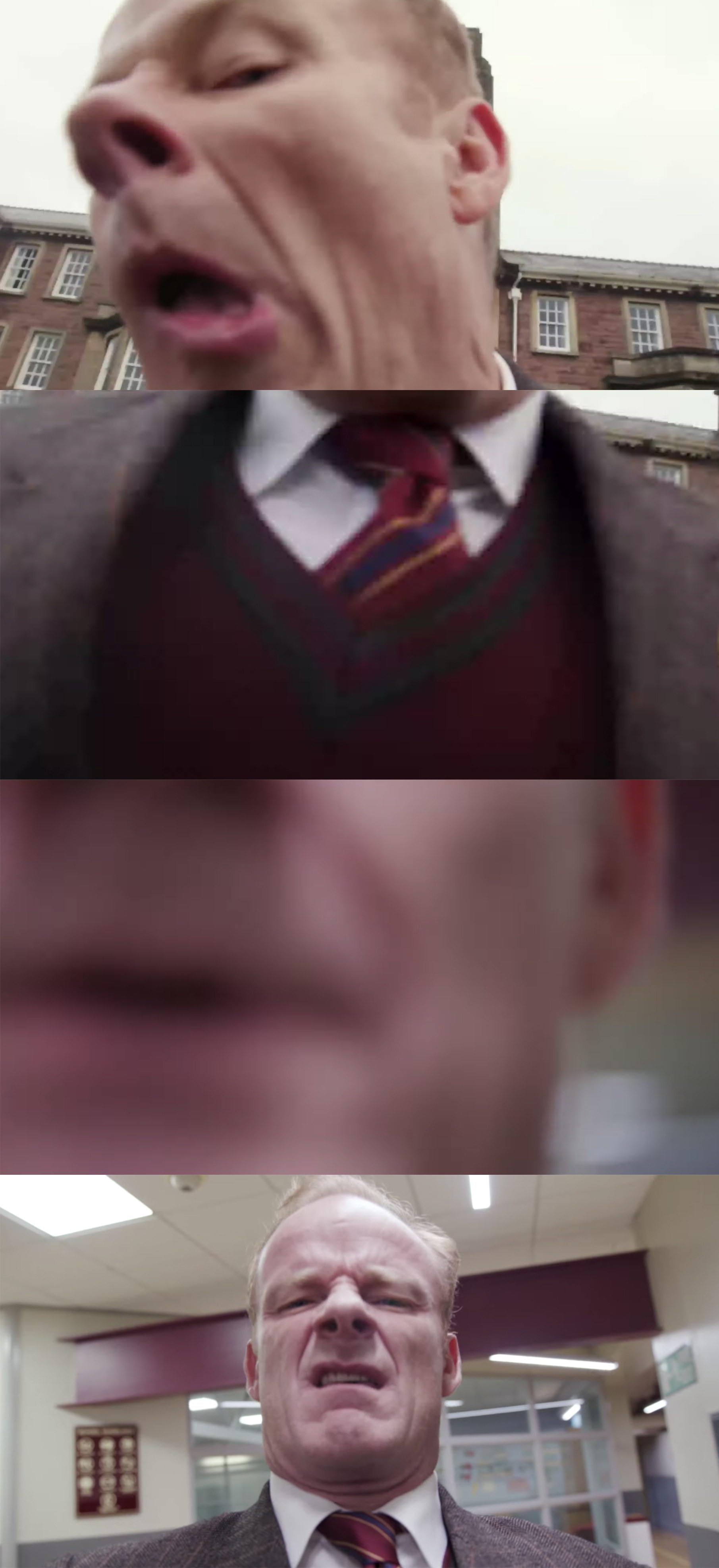 Alistair holds a camera and it's very zoomed in on his face and shirt.