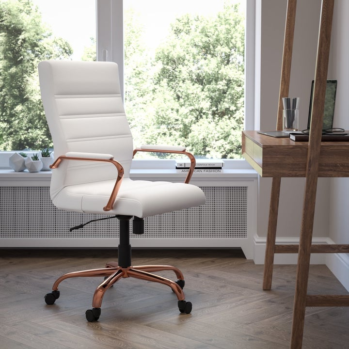 White and rose gold office chair