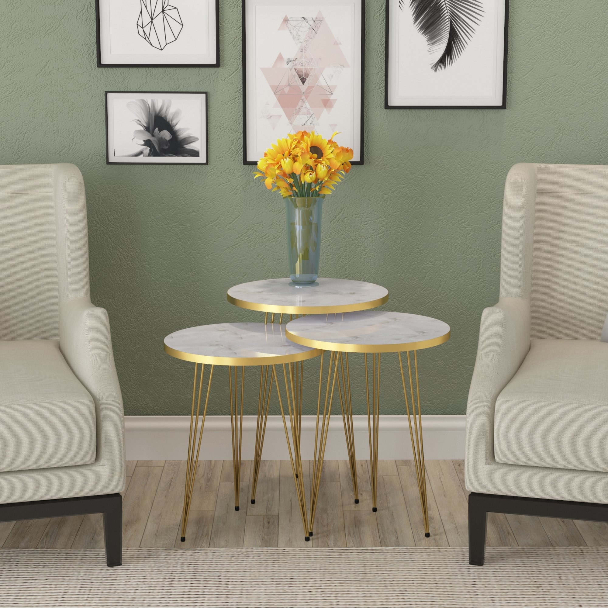 Gold hairpin nesting tables