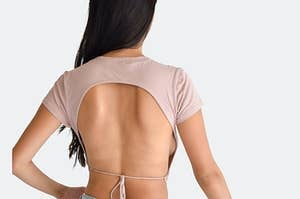 short sleeve top with string tie back