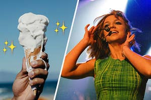 a melting ice cream cone on the left and britney singing on the right