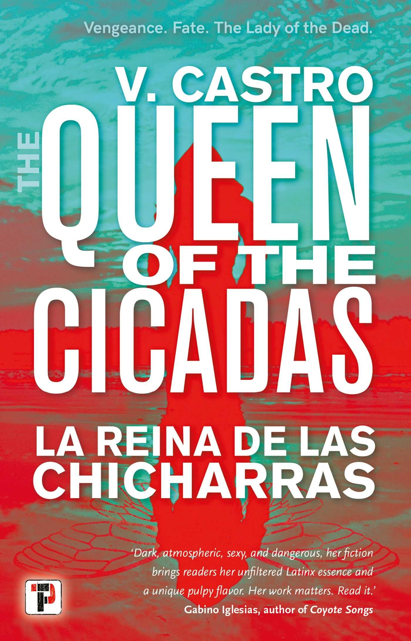 A bright red and green cover shows a silhouette that reflects a woman on top and a cicada on bottom.