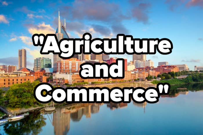 """The Nashville skyline, the motto""""Agriculture and Commerce"""""""