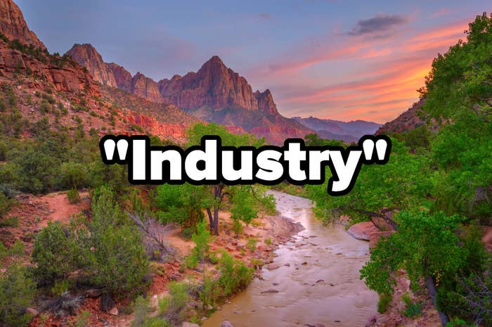 """The Virgin River at sunset and the motto """"Industry"""""""