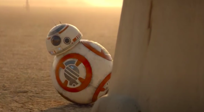 BB-8 peaks at the other droids