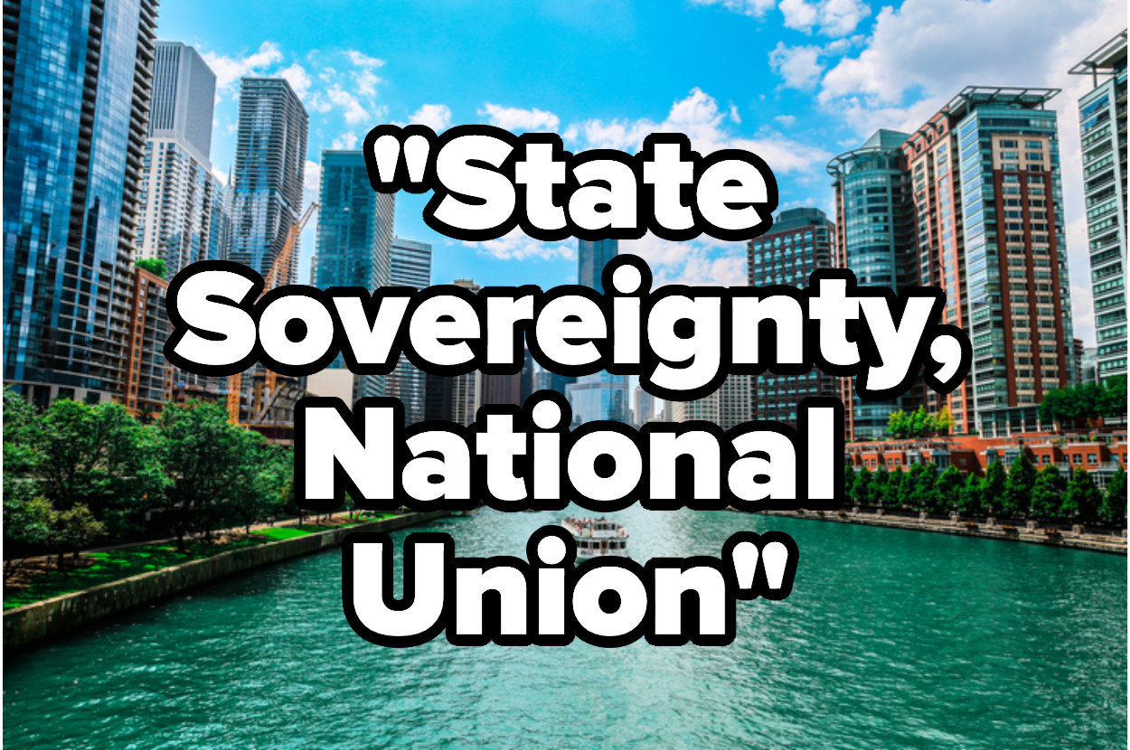 """The Chicago River, the motto """"State sovereignty, national union"""""""