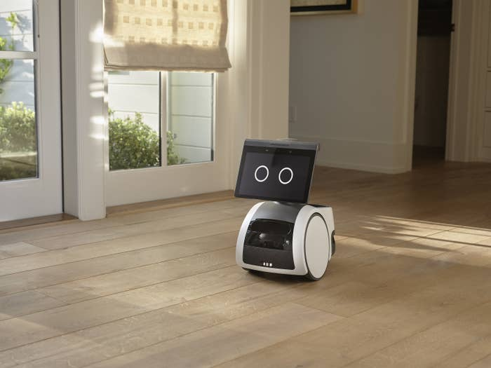 A small wheeled robot with a screen sits on a floor
