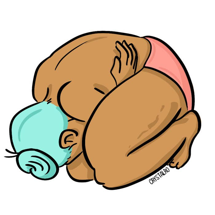 Illustration of a person curled up into a little ball