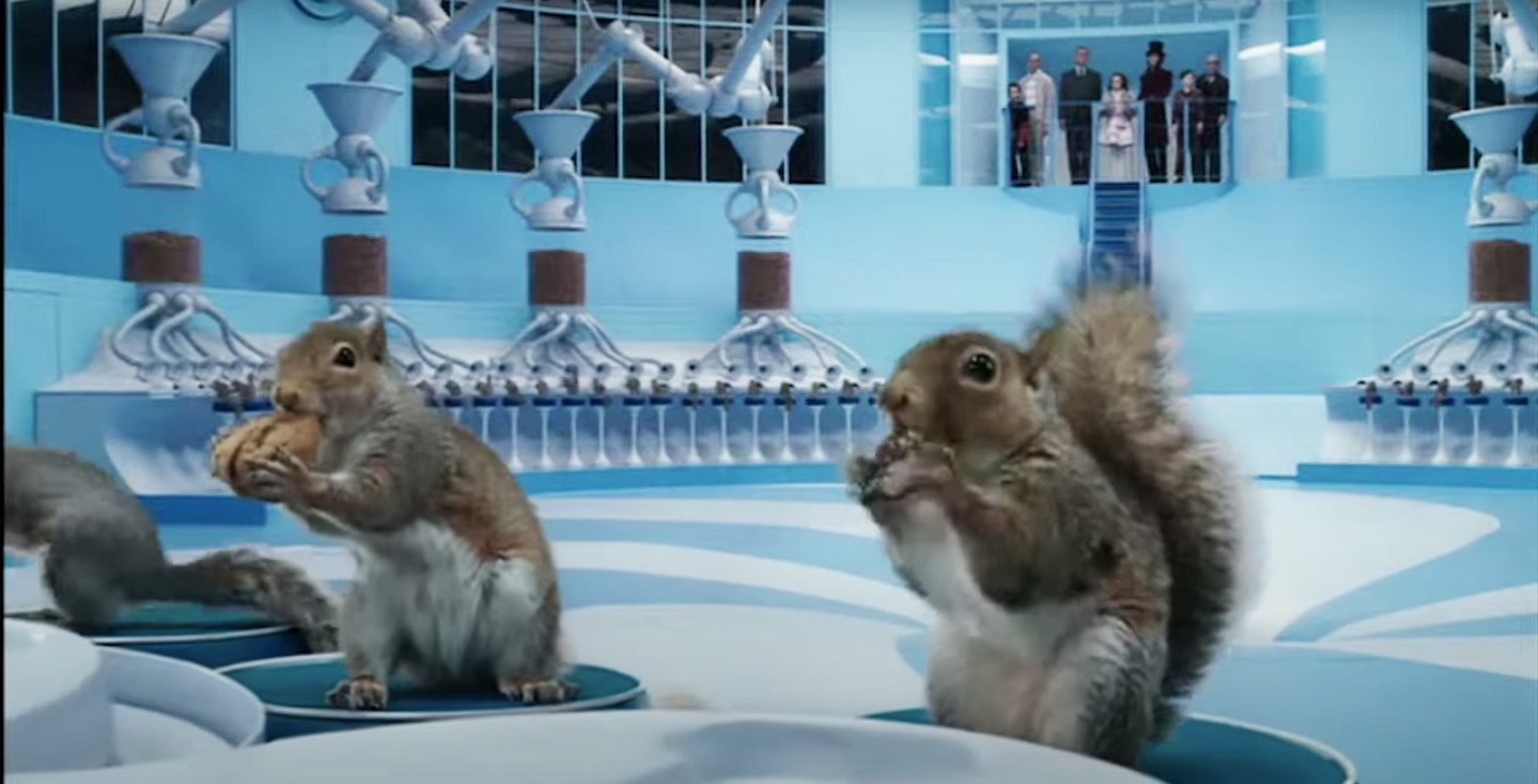 the squirrels sit on stools and sort nuts