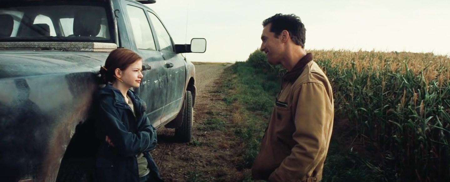 Joseph parks his truck outside the cornfield