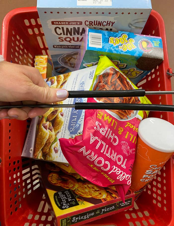 A cart full of Trader Joe's products
