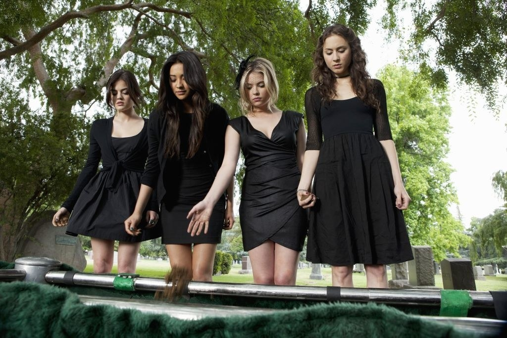All four main girls wearing black funeral dresses