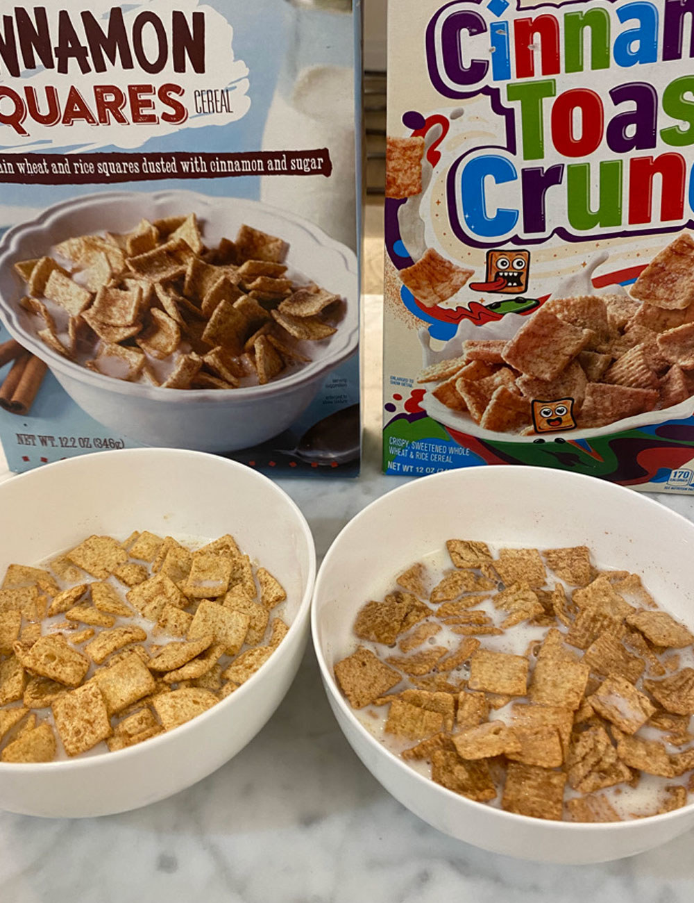 Trader Joe's cinnamon squares and Cinnamon Toast Crunch in bowls with milk