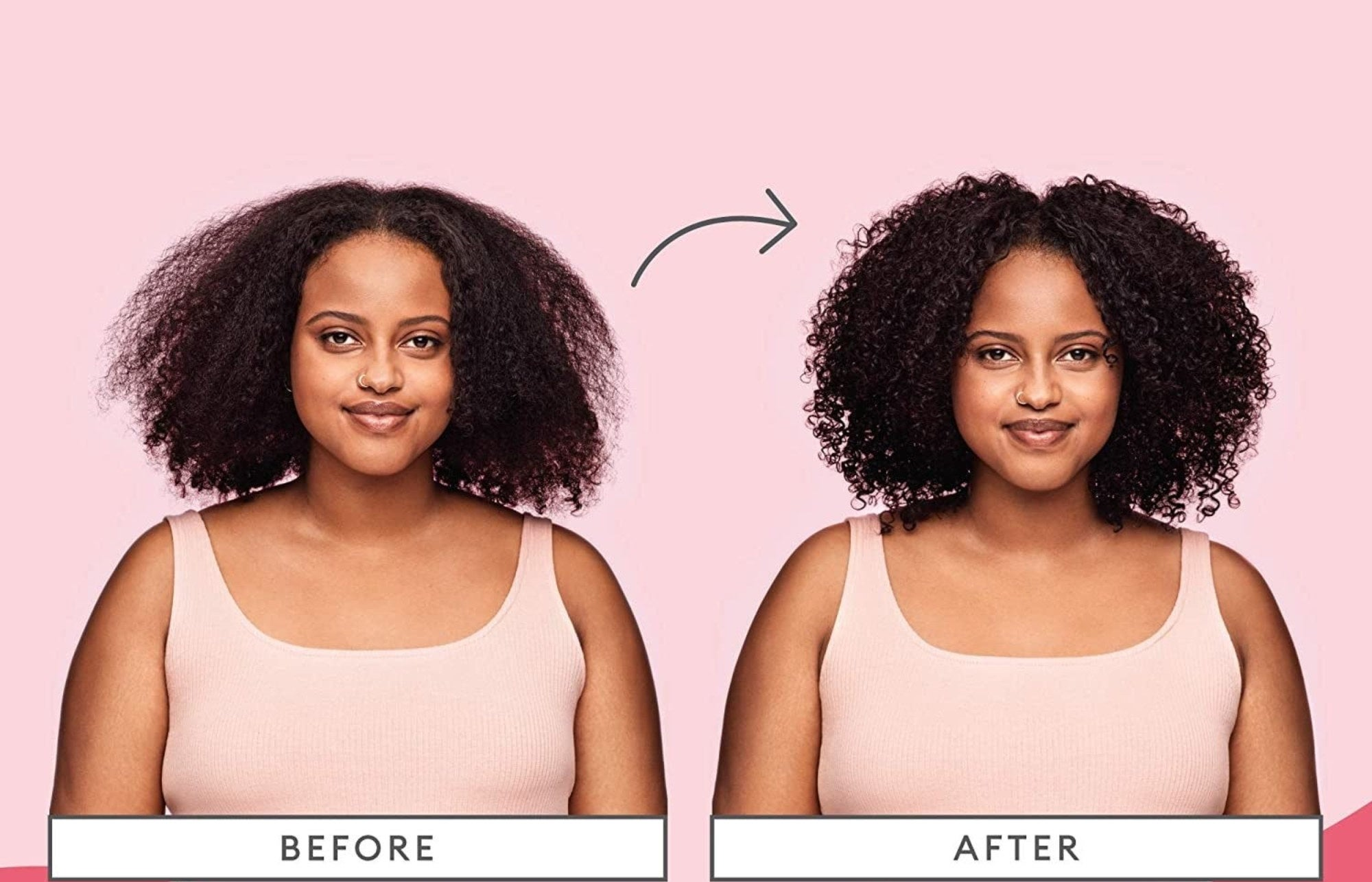 Before and after photos showing a model with natural curly hair looking dry and looking moisturized after using the mask
