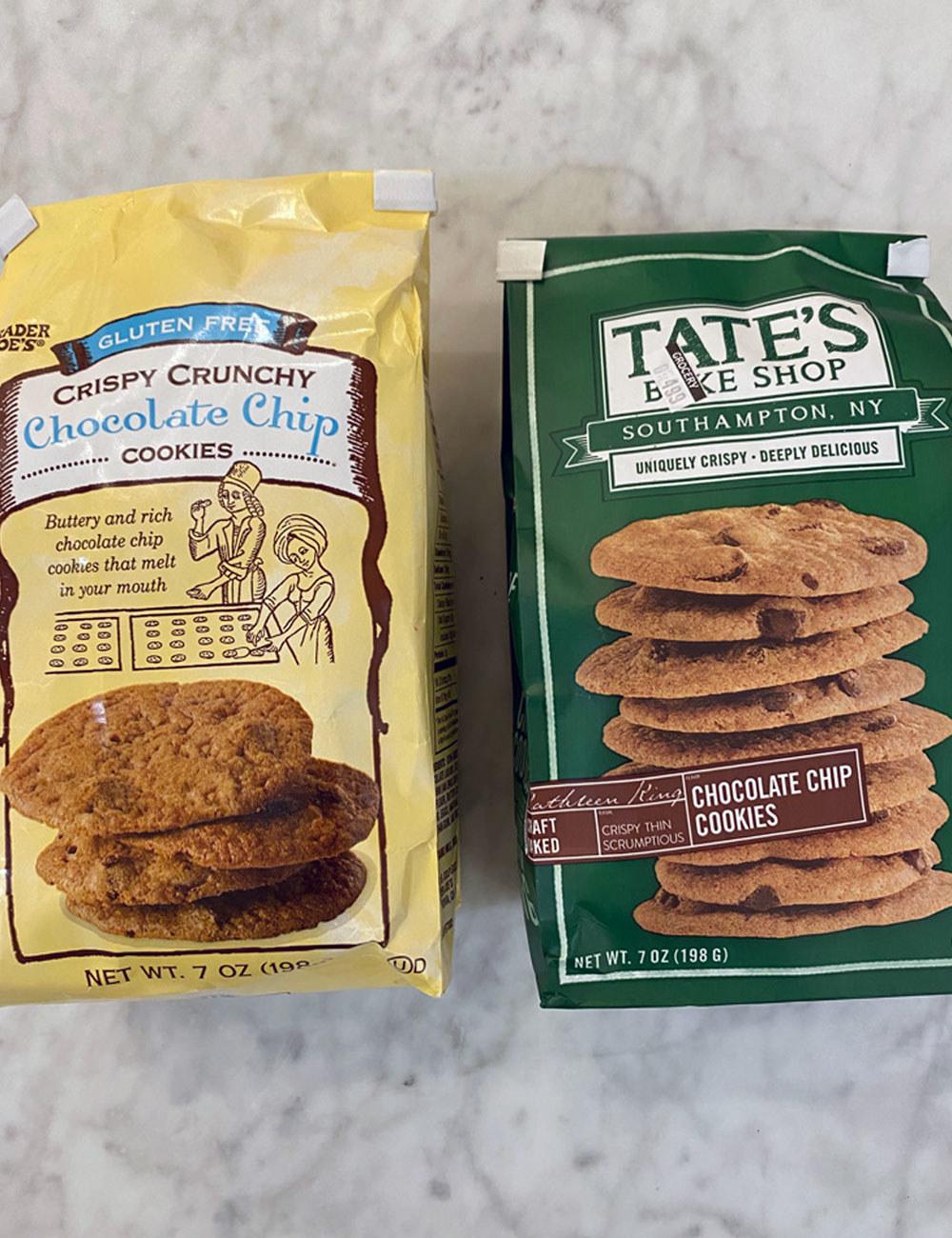 Trader Joe's crispy chocolate chip cookies and Tate's cookies in bags