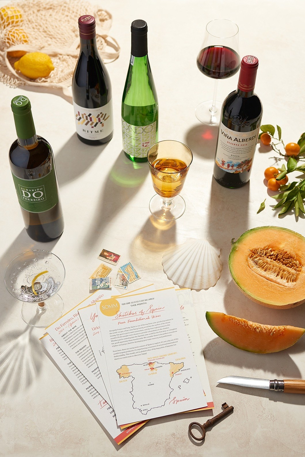 photo of wine bottles and information cards