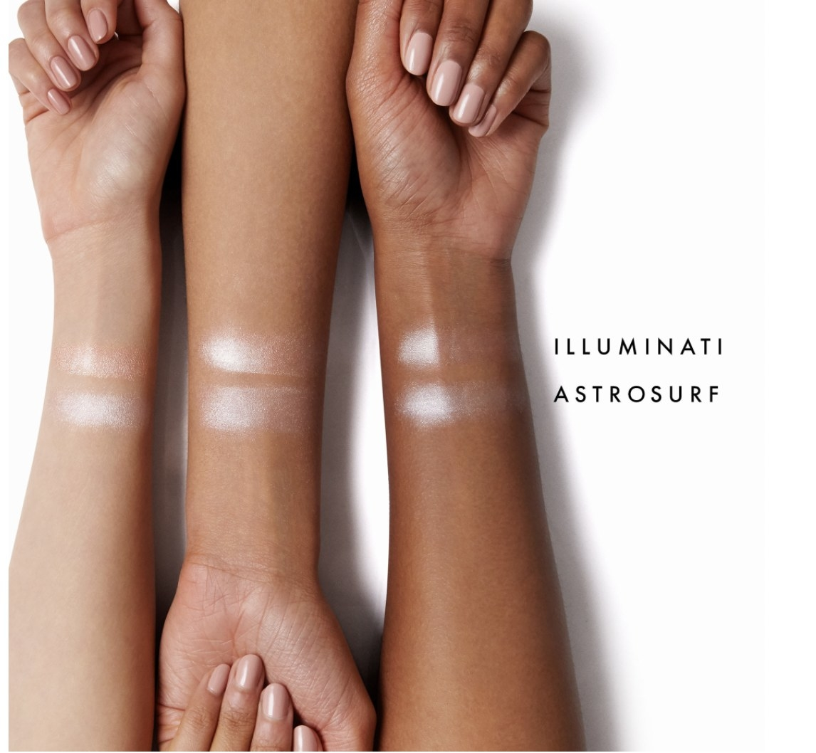Swatches of Pro-Glow Superstrobing Drops on different skin tones