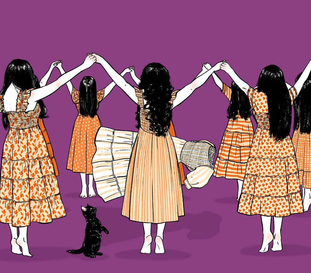 An illustration of a group of women wearing Nap Dresses in a summoning circle