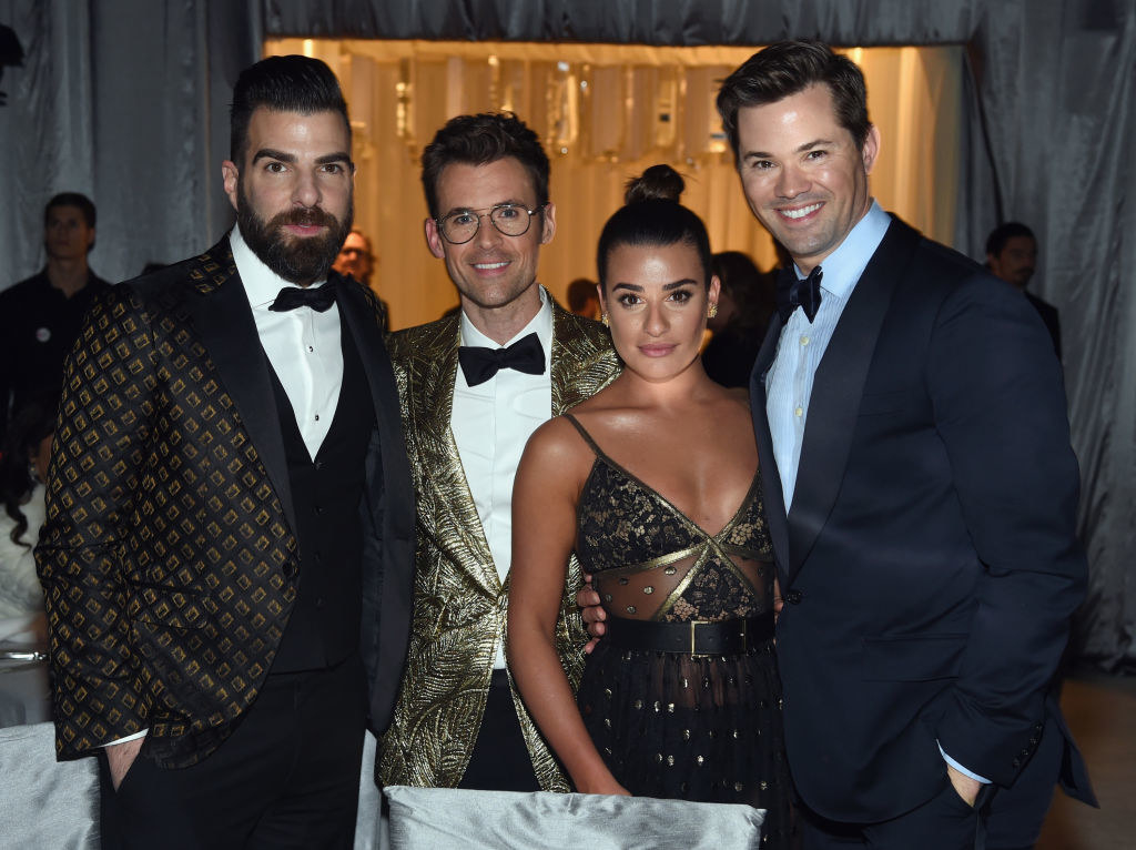 Zachary Quinto and Lea Michele posing at a formal event