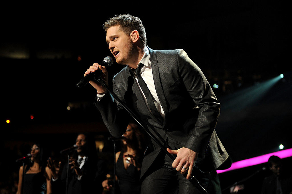 Michael Bublé mid-song