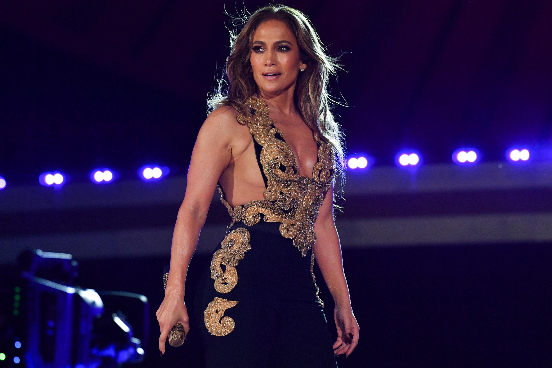 Jennifer Lopez in a black and gold dress