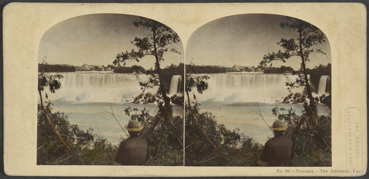 Two side-by-side images show a man in a hat looking through a clearing at Niagara Falls