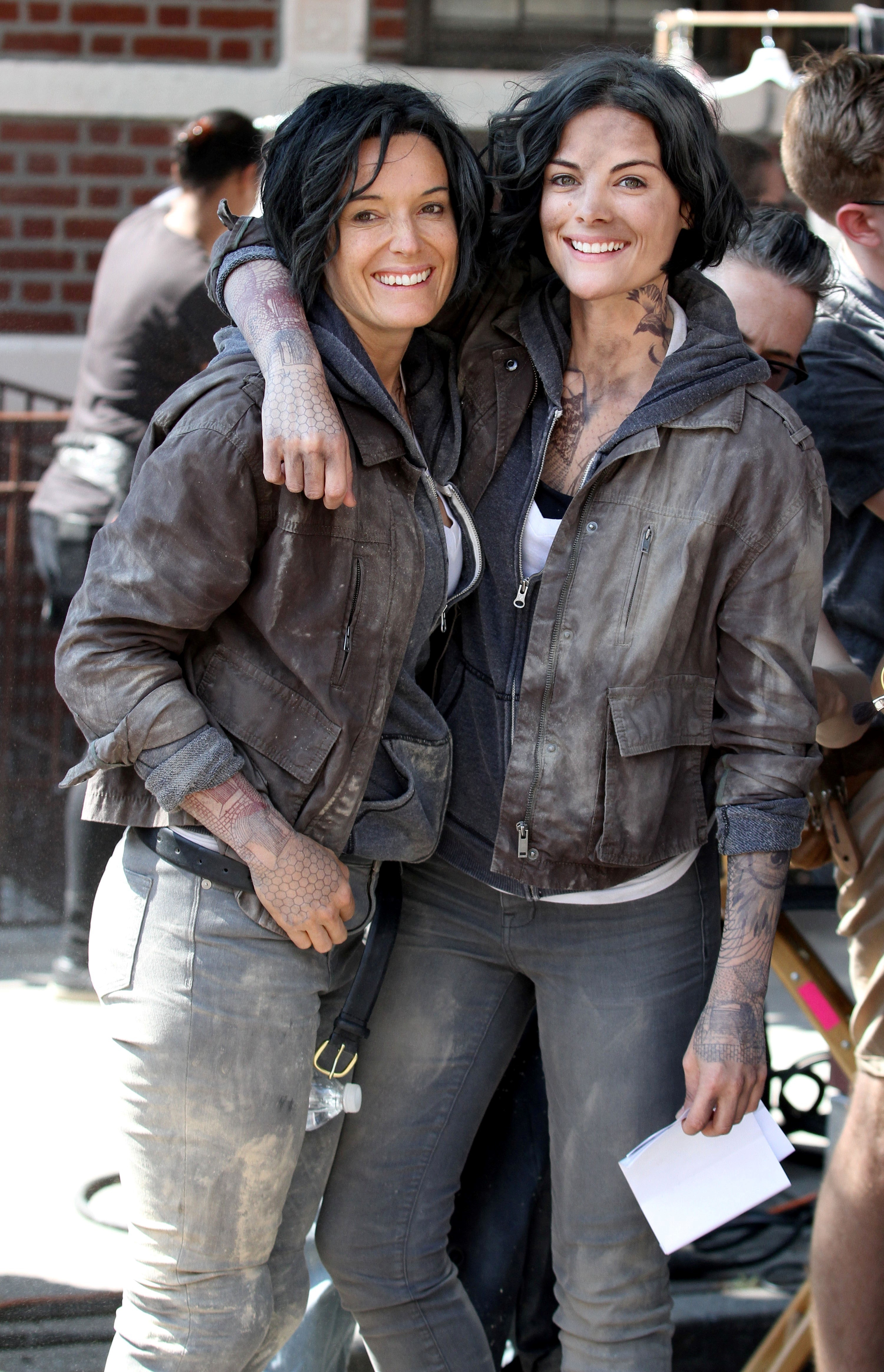 Jaimie Alexander and her stunt double smiling for a photo