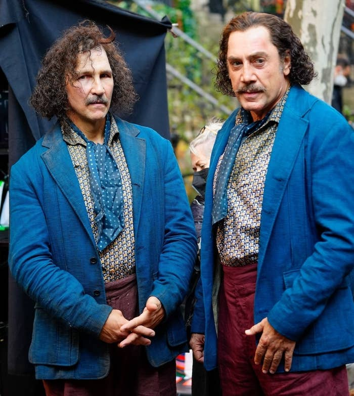 Javier Bardem and his stunt double