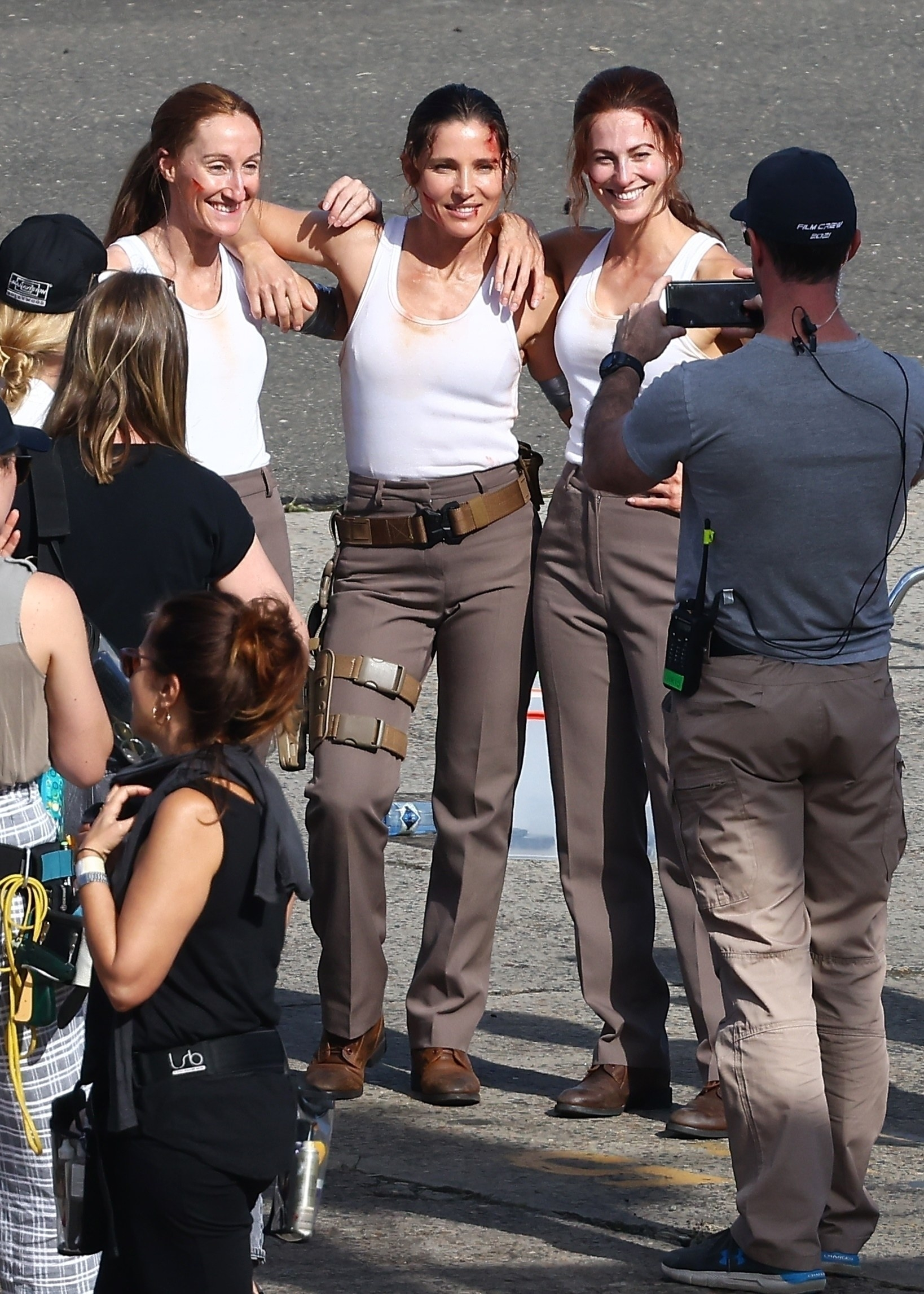Elsa Pataky and her two stunt doubles