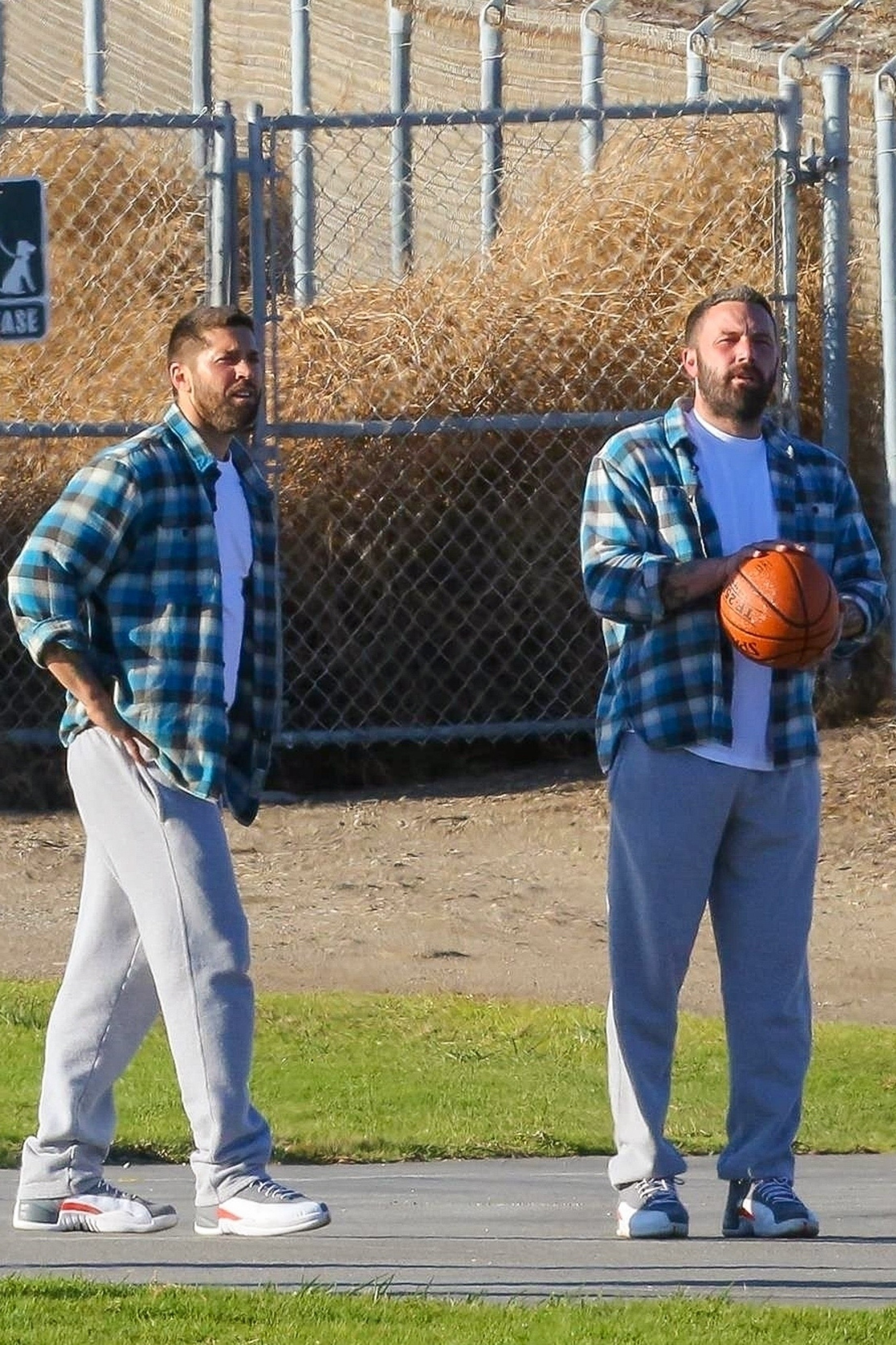 Ben Affleck and his stunt double while filming