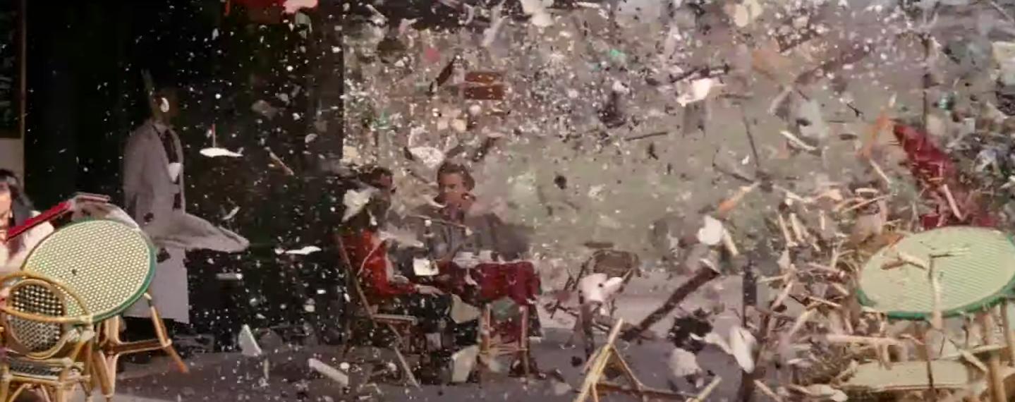 the debris flies across the café at Ariadne's command