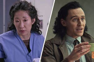 On the left, Cristina from Grey's Anatomy, and on the right, Loki from the series Loki