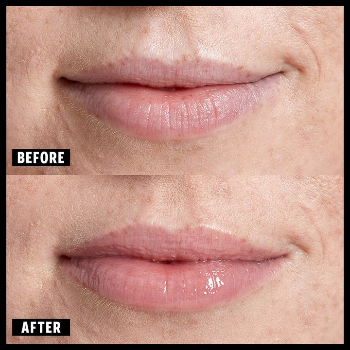 Before-and-after to show a model's lips looking fuller after applying the gloss