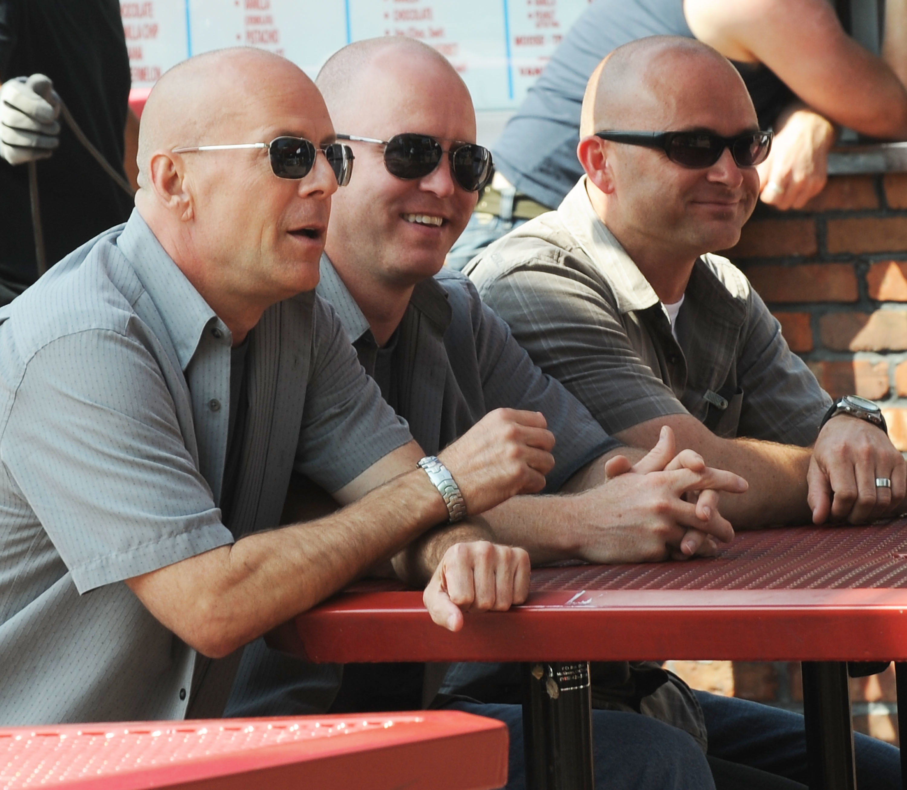 Bruce Willis and his stunt double