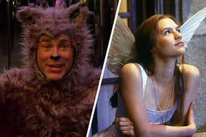 """Chris wears a wolf costume during an episode of """"Parks and Recreation"""" and Juliet leans against a railing while wearing angel wings"""