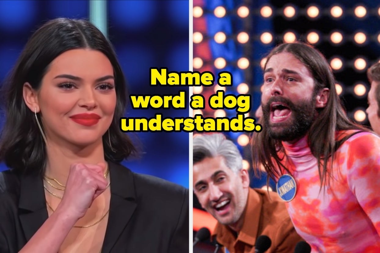 """Kylie Jenner and Jonathan Van Ness with text, """"Name a word a dog understands"""""""