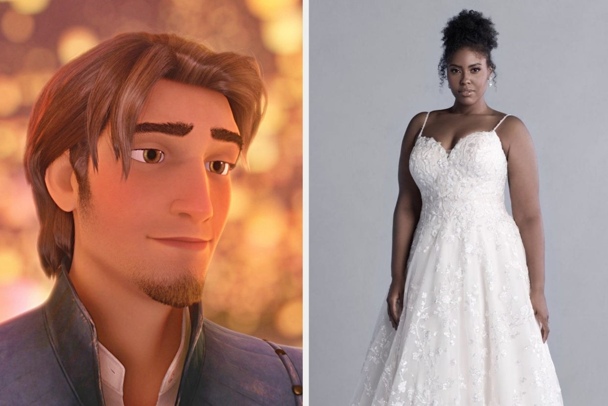 Flynn Ryder and floral sleeveless ball gown
