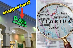 """A market on the left is labeled, """"shopped here?"""" with a magnifying glass over a map of Florida on the right"""