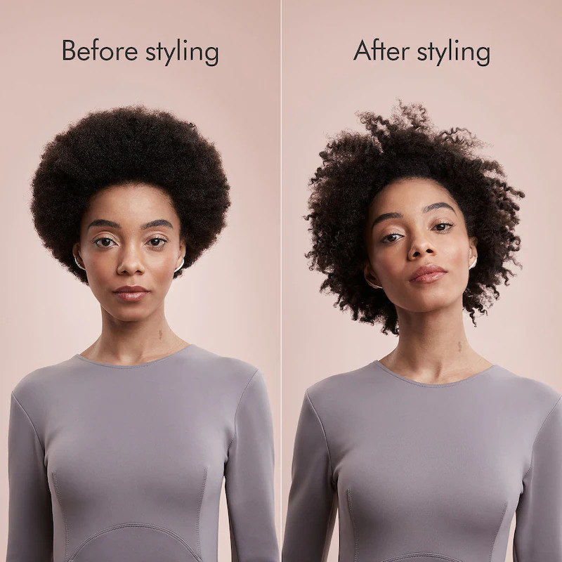 before photo of a model with an afro and an after photo of the same model whose afro has been styled into more defined curls