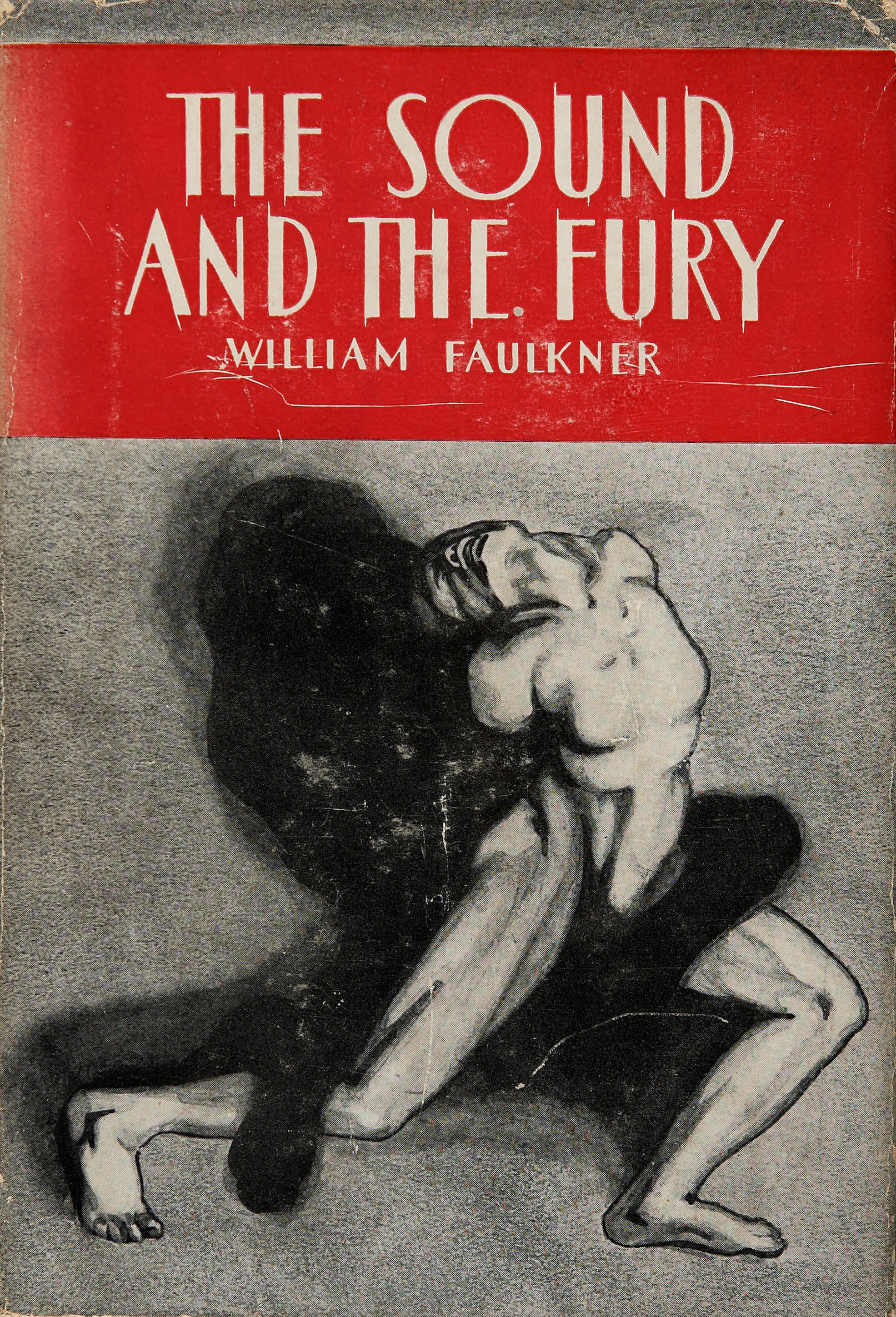 The book cover for The Sound and The Fury by William Faulkner