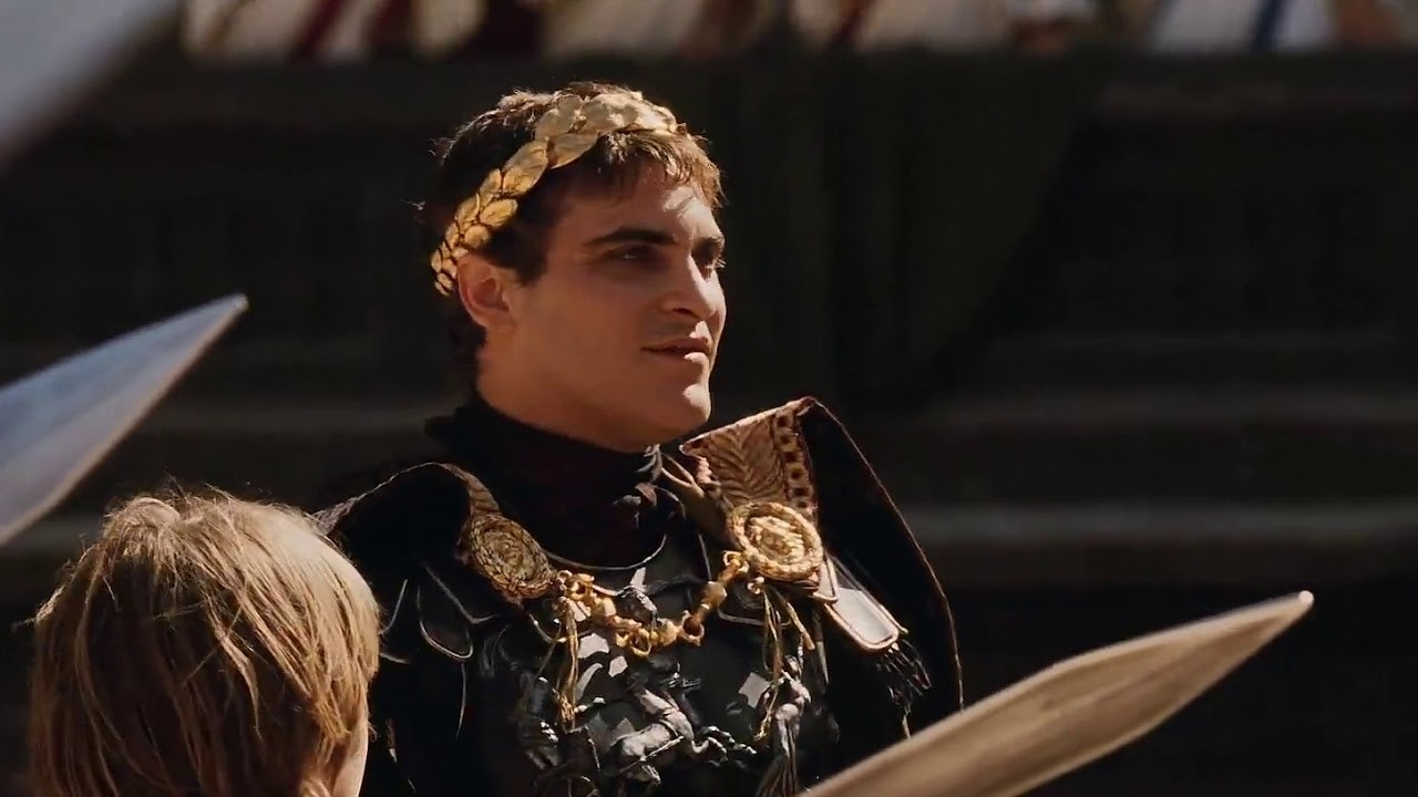Commodus weilding a sword
