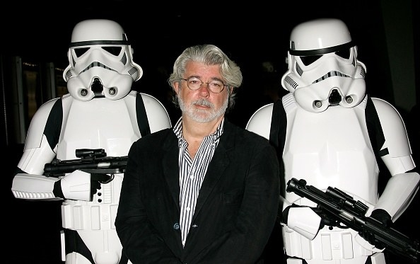 George Lucas and two storm troopers