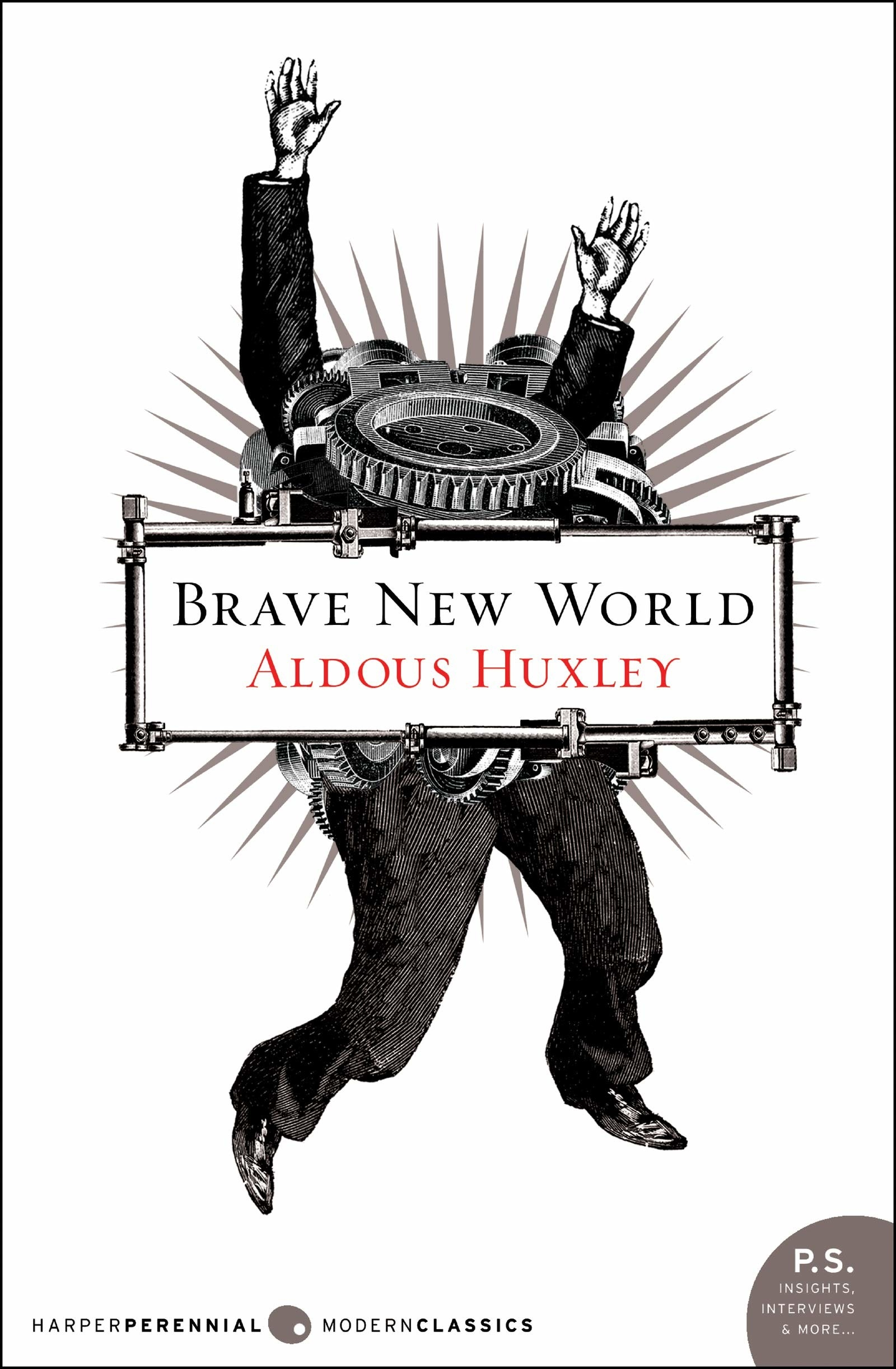 The book cover for Brave New World by Aldous Huxley