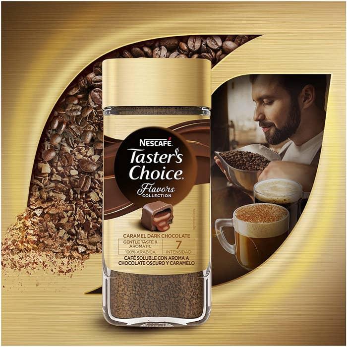 Café soluble con toque de chocolate y caramelo