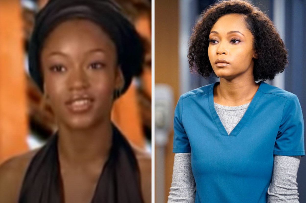 On the left, Yaya is giving a testimonial on an episode of America's next top model. On the right, she is acting in an episode of Chicago Med