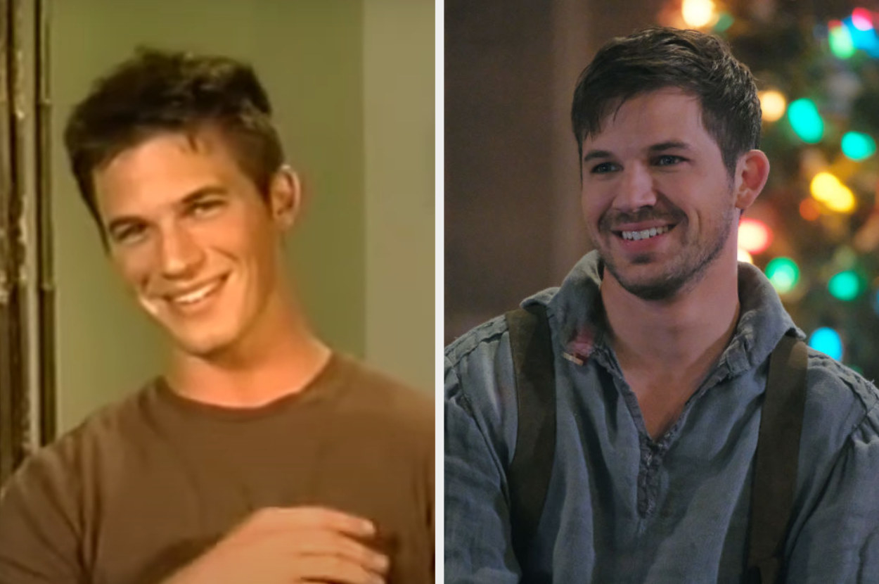 On the left, Lanter is doing a testimonial on Manhunt. On the right, he is acting in an episode of Timeless