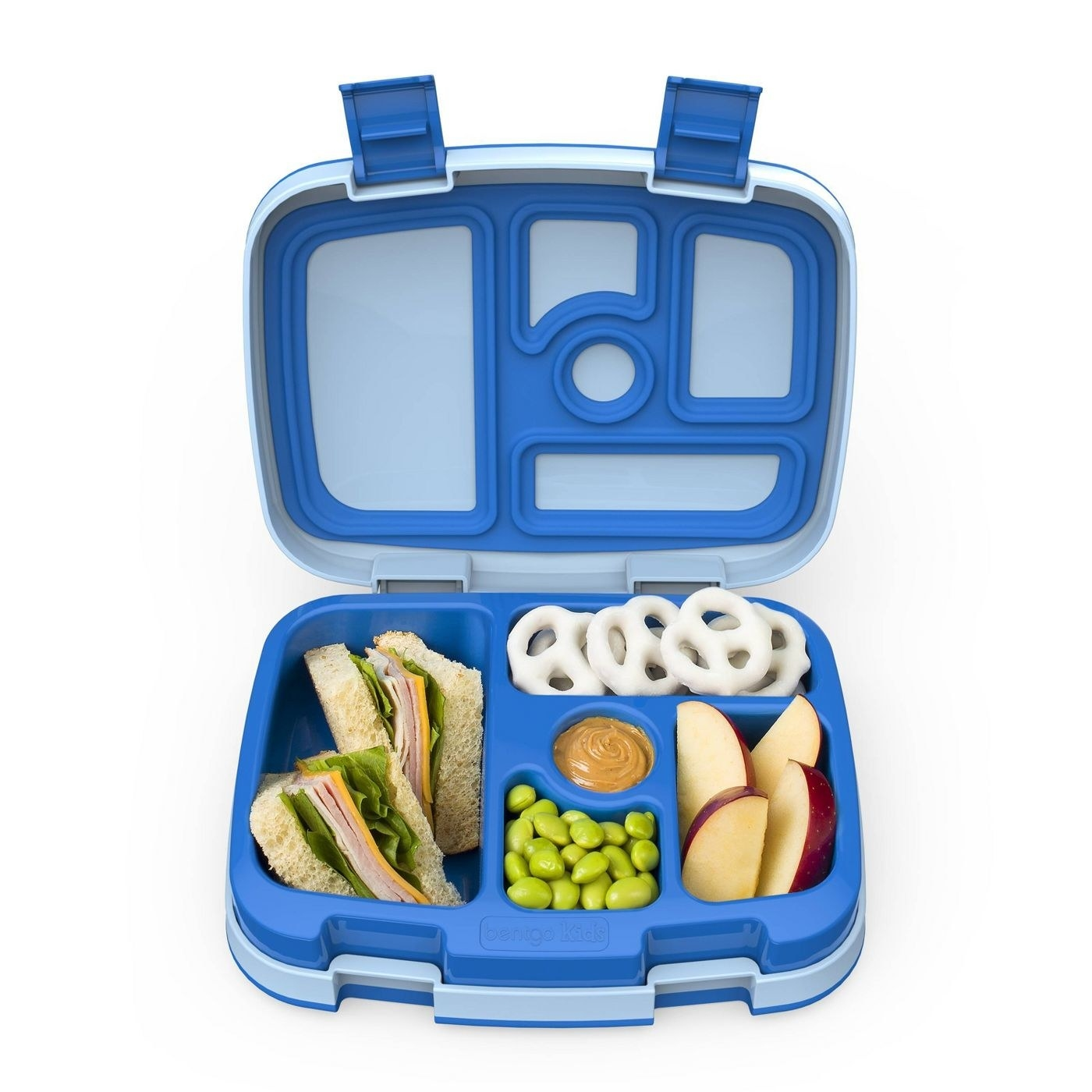 A blue bento box filled with snacks