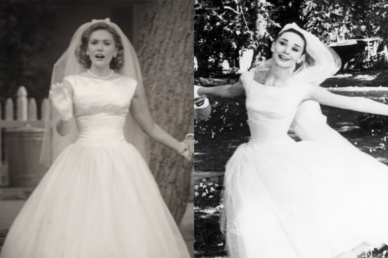 both wore a tea-length gown with cap sleeves with gloves and a long veil